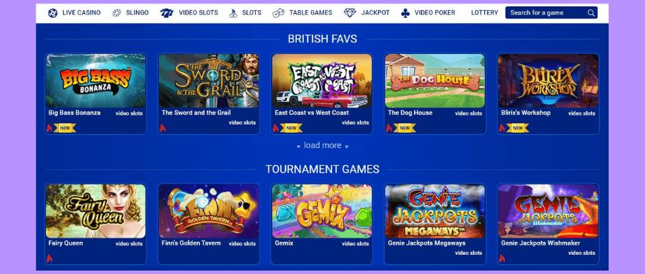 All British online casino lobby
