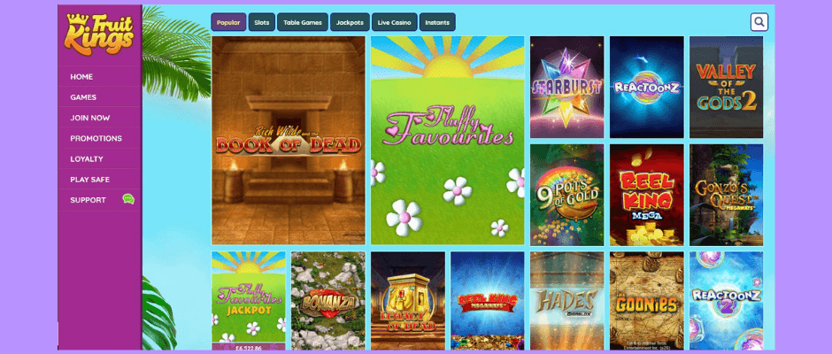 FruitKings online casino lobby