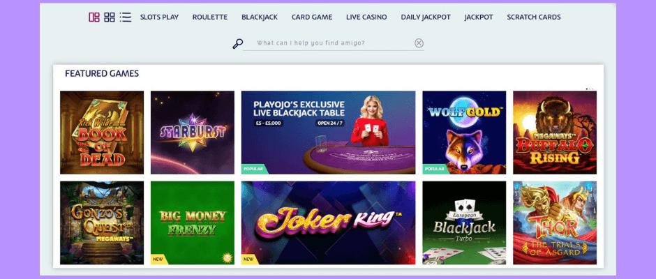 PlayOJO online casino lobby